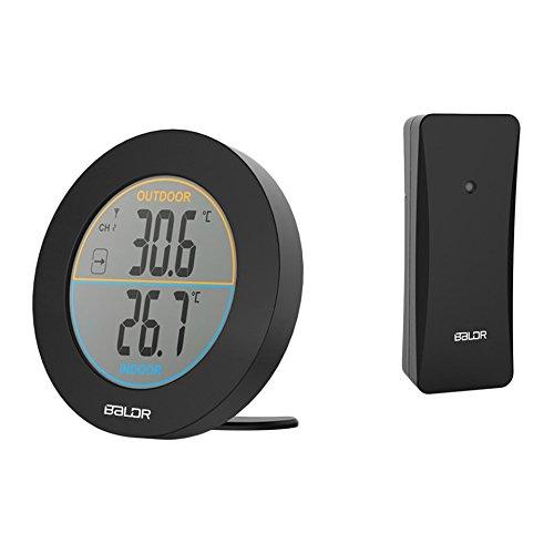 Baldr Runde Form Wireless Thermometer Tisch Indoor Outdoor LCD Display Digitale Wandtemperatur Meter Sensor B0127T2 - Schwarz