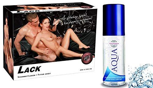 Feuchtalarm Erotik-Set- Lack Spannbettlaken Laken schwarz,abwaschbar Größe 220 x 220 cm - Ideal geeignet für Massage, Erotikspiele, Sexspiele für Paare
