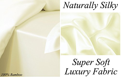 CREAM 100% Bamboo Super Silky Soft Luxury 4 Piece Duvet Bed Set – Complete Bedding Set Includes Duvet Cover 2 Pillowcases and Deep Fitted Sheet by Euphoric Bedding ® (King Size, Cream)