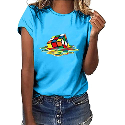 kolila Persönlichkeit Bedruckte T-Shirts T Shirt für Rubik's Cube Ventilator, Lässige Basic Kurzarm Oberteile Bluse Tops Damen -