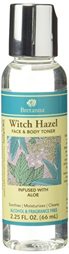 Bretanna All-Natural Witch Hazel, Alchohol Free Face & Body Cleansing Toner, Infused with Pure Aloe True Essential Oils, 2.25 Oz by Bretanna