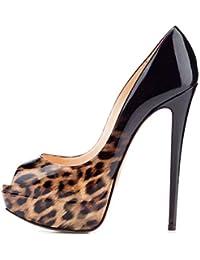 elashe- Scarpe da Donna - 15CM Scarpe col Tacco Peep Toe - Classiche Scarpe  con a1a15e692b9