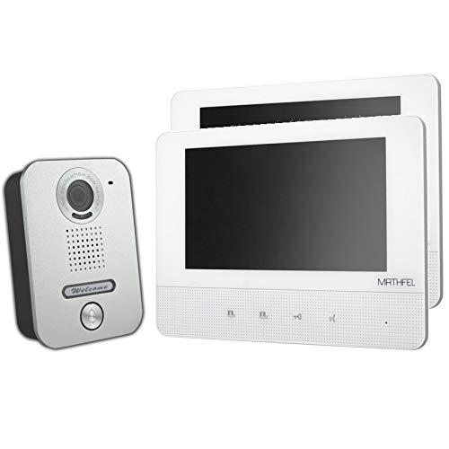 Video Türsprechanlage Türklingel Intercom mit 7\'\' Monitor für 1-Familienhaus, aufputz Montage, Farbe: 2x7\'\' Monitor