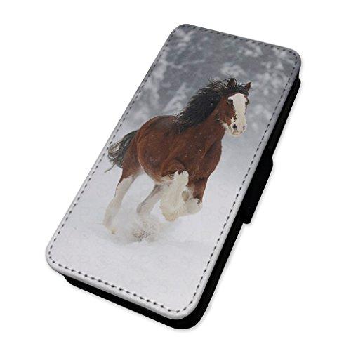 Splendido Brown Snow Horse–Flip cover in pelle Apple Iphone X