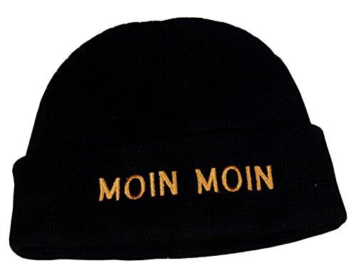 Maritime Strickmütze Mütze mit Schriftzug 'Moin Moin' schwarz One Size