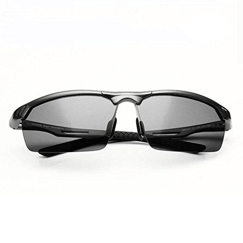 Sonnenbrillen Treiber Männer Sonnenbrille polarisierte Male Spiegel Sonnenbrille fährt Tide Aluminium Magnesium Driving Gläser Half-umrandeten Brille Schütze Deine Augen (Farbe : A)