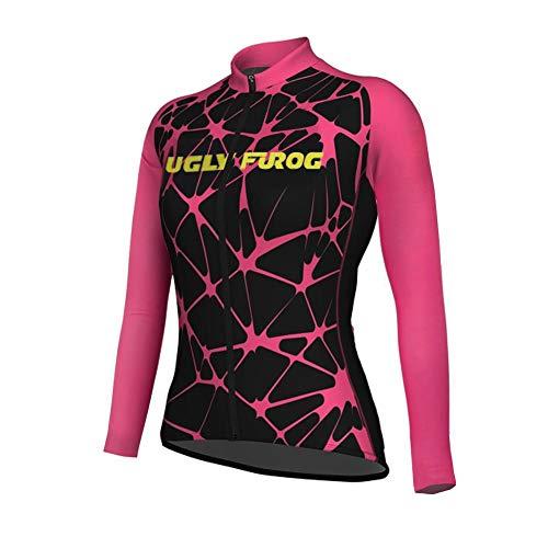 Uglyfrog Radtrikot Damen Top Schnell Trocken Langarm-Radfahren Jersey Winter Fleece Warm für Mountain Biking und Outdoor