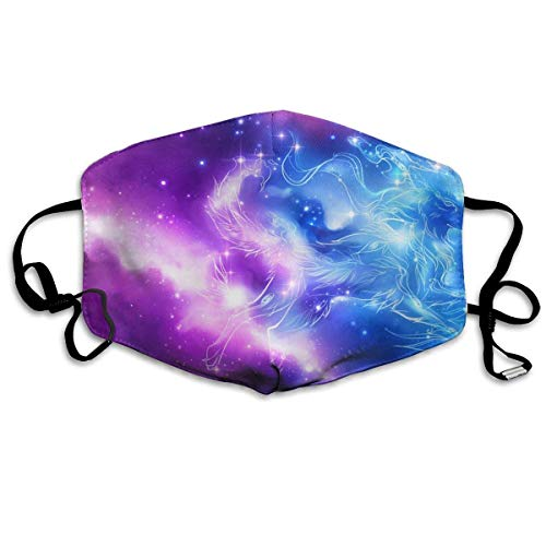 liang4268 Mundmasken Galaxy Wolf Washable Reusable Safety Mask Cotton Anti Dust Half Face Mouth Mask for Kids Teens Men Women Lovers Dustproof with Adjustable Ear - Womens Wolf Kostüm