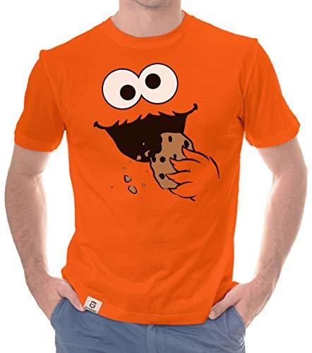 Shirtdepartment - Herren T-Shirt - Keks Monster orange-schwarz L (Old School Monster Kostüm)
