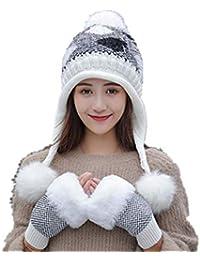 Stillshine Madame Bonnet tricoté Épais d hiver pour Garder au Chaud avec  Cache-Oreilles Chapeau en Tricot Gants Demi-Doigts Dames… ccf7d70fb1b