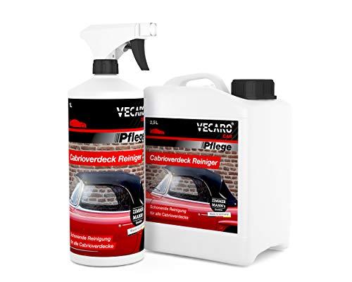 VECARO Cabrioverdeck-Reiniger und Pflege 1 Liter mit Zerstäuber + 2,5 Liter Nachfüllpack. Für alle Cabrioverdecke aus Stoff, Kunststoff, Vinyl etc.
