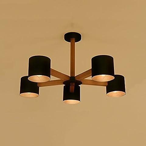lumières Style scandinave individualité créative simple salon moderne salle d'étude chambre chandelier ( Couleur : Noir , taille : Five heads )