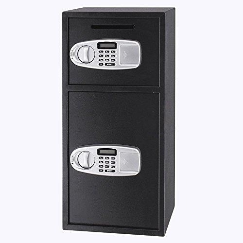 Descripción del producto: Esta caja de fuerte digital con doble puerta está construida con una construcción de acero resistente, que puede proteger su dinero, joyas, armas, documentos, etc. La caja de seguridad tiene dos cajas de seguridad sepa...