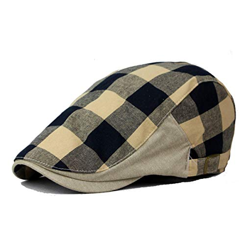 KDFLGE Hut Herren Plaid Baskenmütze Herrenhut Flat Top Cap Einstellbare Zeitungsjunge Rock Damenschuhe Mode Hut, A