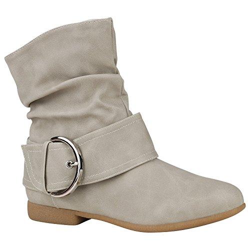 Damen Schuhe Schlupfstiefel Schnallen Stiefelette Leder-Optik Gefüttert 150475 Creme Schnallen 38 Flandell