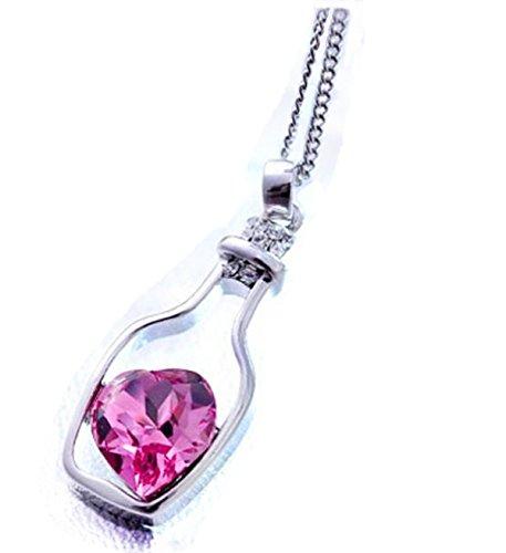 Collar para mujer, Switchali Botellas collar de la mujer de las señoras de la manera populares en Crystal Amor Drift (Hot Pink)