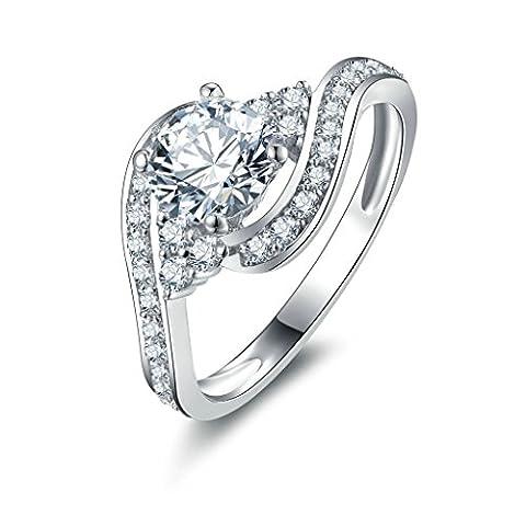 AMDXD Jewelry Sterling Silver Women Customizable Rings Big Round CZ