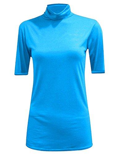 WearAll - Damen Rollkragen Elastisch Ärmellos Unterhemd Bodycon Top - 8 Farben - Größe 36-42 Turquoise Short Sleeve