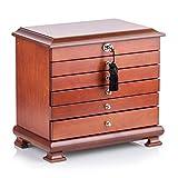 LIFELINK Schmuckkasten Holz Schmuckkoffer schmuckschatulle mit 5 Schubladen DNM16 (W-BRAUN)