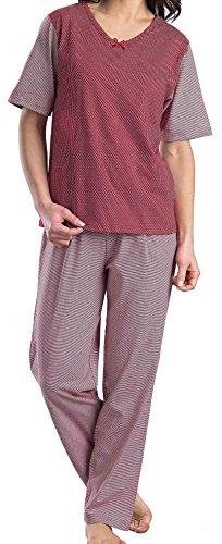 Mesdames luxe 100 % coton court manchon V Neck festif rouge et blanc salon convenir ensemble pyjama Rayé rouge, tache blanche,