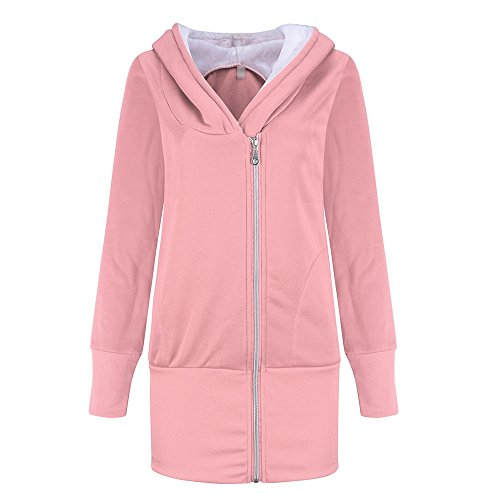 5 ALL Damen Herren Winter Fleece Sweatjacke Hoodie Langarm Lang Mantel Jacke Wintermantel Kapuzenjacke Anoraks Outwear Pink 3XL