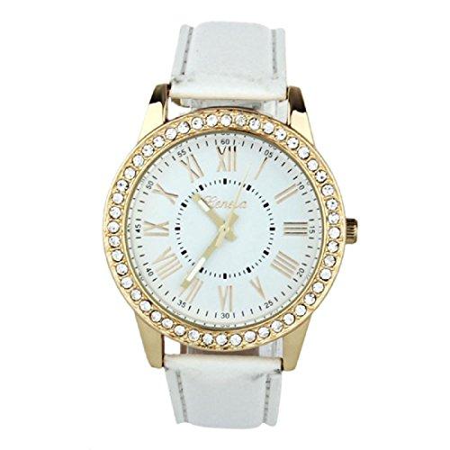 Amlaiworld Orologio da polso per Donne, Moda colorata Geneva strass cuoio orologio al quarzo (Sintetico Cassa Del Cuoio)