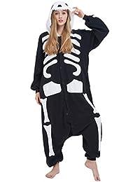 Kigurumi Pijama Animal Entero Unisex para Adultos con Capucha Cosplay Pyjamas Esqueleto Ropa de Dormir Traje
