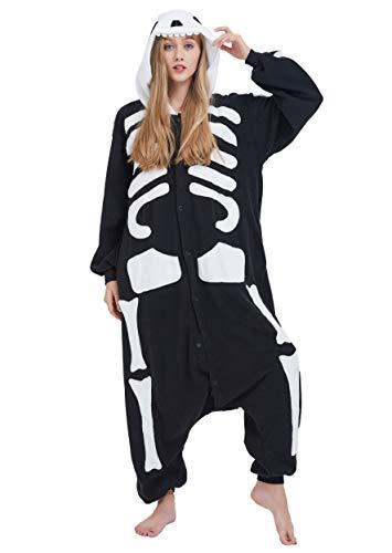Jumpsuit Onesie Tier Karton Fasching Halloween Kostüm Sleepsuit Cosplay Overall Pyjama Schlafanzug Erwachsene Unisex Lounge Kigurumi Skelett for Höhe 140-187CM