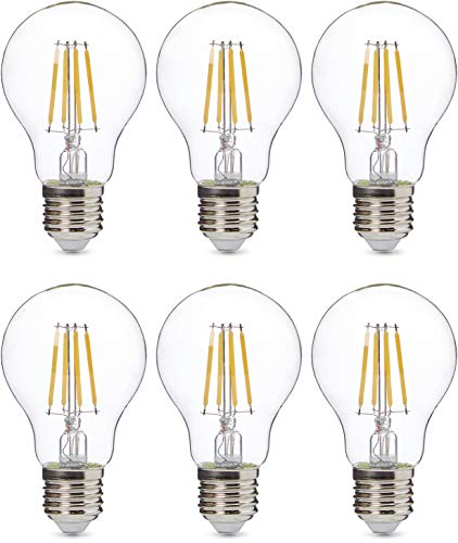 AmazonBasics Professional - Bombilla de tipo Edison LED, casquillo E27, equivalente a 60W, vidrio de filamento transparente, regulable - juego de 6