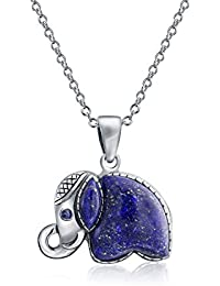 Bling Jewelry Lapislázuli Colgante Elefante suerte Sterling Silver Necklace 18 pulgadas