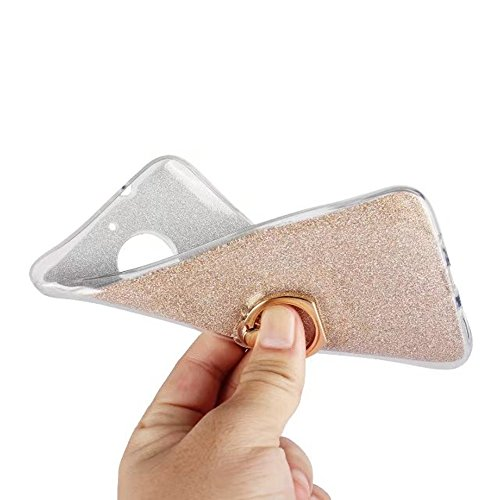 EKINHUI Case Cover Soft Flexible TPU Back Cover Case Shockproof Schutzhülle mit Bling Glitter Sparkles und Kickstand für MOTO G5s Plus ( Color : Pink ) Gold