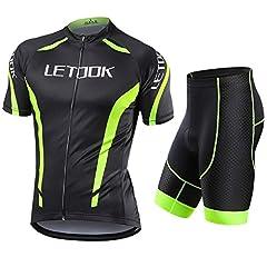 Idea Regalo - Letook Body Tuta Ciclismo Completo Bici Uomo Estivo con Maglia Corta e Pantaloncini Corti Imbottiti Abbigliamento Ciclismo Set(Maglia+Pantaloncini,L)