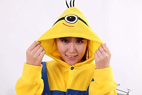 New Yellow Minions-Kostüm-Frauen-Pyjamas Kid Erwachsene Animelattich Pyjama-Party Weibliche Nachtwäsche Minion Onesies für Kind M, EIN Auge, XS (Mickey Maus Pyjama Kostüm)