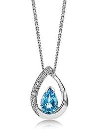 Miore - Collier Femme - Or blanc 375/1000 (9 carats) 1.77 gr - Topaze Bleue - 45 cm