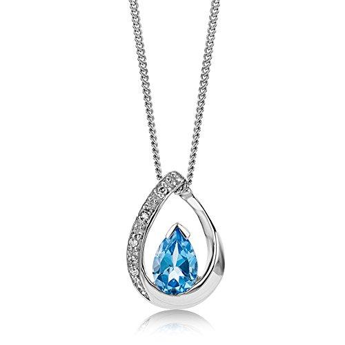 Miore Kette - Halskette Damen Weißgold 9 Karat / 375 Gold Kette  Blauer Topas mit  Diamant Brillianten  45 cm - Geburtsstein Halskette, Charms Ring,