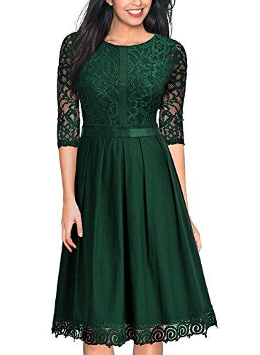 Miusol Damen Elegant Abendkleid Cocktailkleid Vintag 3/4 Arm mit Spitzen Knielang Party Kleid Gruen...