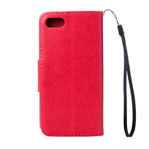 Pheant® Apple iPhone 7 (4.7 Pouces) Coque Étui en PU Cuir Housse de Protection étui à rabat Portefeuille Pochette Cas Papillon Motif de daufrage Violet foncé Rouge