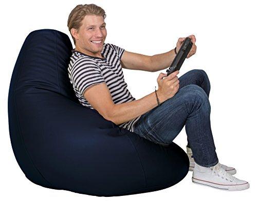 Lumaland Luxury stylischer Gaming Beanbag Lederimitat Sitzsack 230L Füllung Indoor Outdoor verschiedene Farben Dunkelblau
