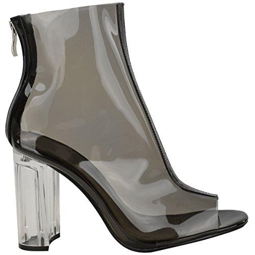 Neuf Pour Femmes Mesdames Bottines Perspex Transparent Talons Blocs Hauts Mode Chaussures Pointure Noir Verni / Talon Transparent