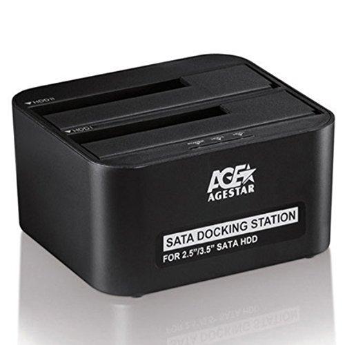 AgeStar USB 3.0 Offline Klon Docking Station mit 2 Einschüben, optimiert für HDD/SSD/SATA Externe Festplatten-Dockingstation für 2,5