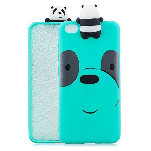 Funluna Funda para Xiaomi Redmi GO, 3D Panda Patrón Ultra Delgado TPU Cover Suave Silicona Carcasa Gel Anti-Rasguño Protectora Espalda Bumper Case para Xiaomi Redmi GO, Verde