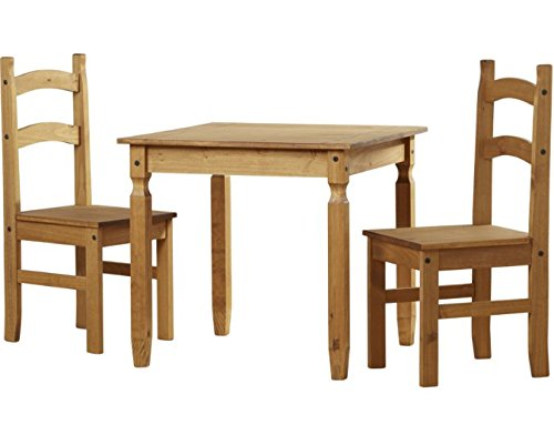Andover Mills Rustikaler Stil 3tlg. Kiefer Esstisch-Set-Schöne Gewachste Kiefer Finish-Beinhaltet One Tisch und Zwei Stühle -