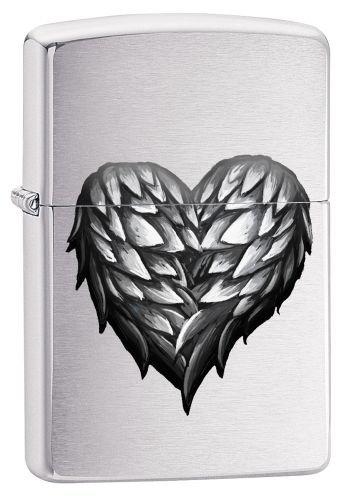 Zippo Feuerzeug 60002491 PL Winged Heart Benzinfeuerzeug, Messing, Brushed Chrome, 1 x 3,5 x 5,5 cm