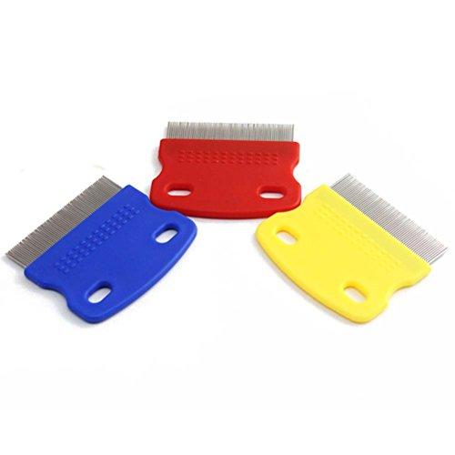 flohshampoo fuer menschen UEETEK 1 Stk Haustier Hund Reinigung Kamm Hund Katze floh Pflege Pinsel-Werkzeug (zufällige Farbe)