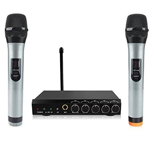 Micro sans Fil bluetooth 4.1 Microphone Système Portable Micro Karaoke Professionnel VHF 1 Récepteur + 2 Micro Portable HF Distance Karaoké Fête Conférence Spectacle Bar Réunion Studio