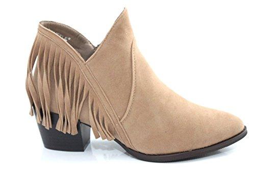 Damen coyboy Western Quaste Zip Mid helled Stiefelette Größe UK 3–8 Taupe
