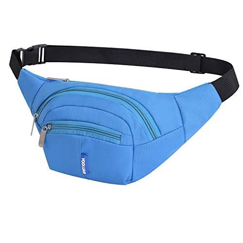 Yooluan Wasserdichte Gürteltasche Bauchtasche 3 Reißverschluss Taschen Wandern Outdoor Sport Hüfttasche Urlaub Geld Pouch Pack für Damen und Herren (Blau)