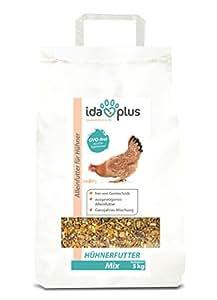 Ida Plus - Hühnerfutter Mix 5 Kg - Ausgewogenes Alleinfutter | Ganzjahres Mischung, GVO-frei (auch für Legehennen) Futterautomaten geeignet | Enthält Calcium und Vitamine (5 Kg)