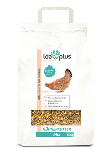 IdaPlus Hühnerfutter Mix 5 Kg - Ausgewogenes Alleinfutter | Ganzjahres Mischung, GVO-frei (auch für Legehennen) | Bestens für Futterautomaten geeignet | Enthält Calcium und Vitamine (5 Kg) - Erbsen-mix