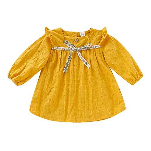 Julhold Baby Kind Mädchen Kleinkind Bowknot Soild Einfach Langarm Lässig Baumwolle Tops Prinzessin Kleid Kleidung 1-4 Jahre